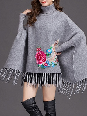 Batwing Elegant Floral Shift Sweaters_3