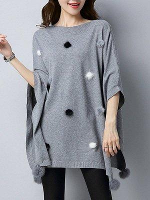Wool Shift Casual Batwing Sweater_3