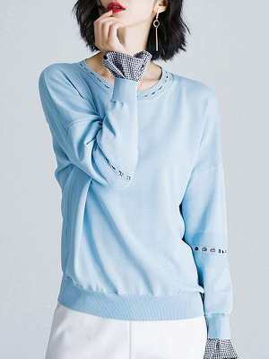 Paneled Casual H-line Knitted Sweater_2