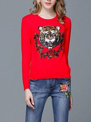 Animal Casual Long Sleeve Sweater_8
