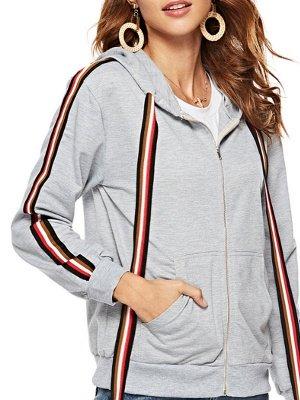 Gray Shift Hoodie Pockets Casual Zipper Paneled Coat_7