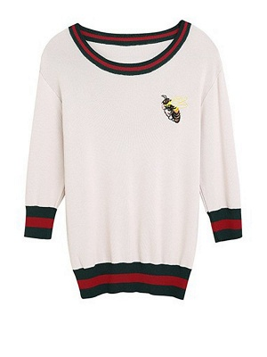 Crew Neck Knitted Embroidered 3/4 Sleeve Casual Sweater_1