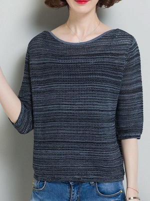 Casual Solid Crew Neck Half Sleeve Ice Yarn Knitted Sweater_1
