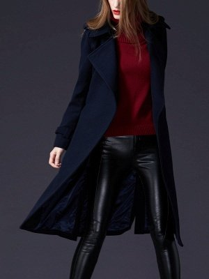 Dark blue Shift Long Sleeve Casual Pockets Paneled Coat_8