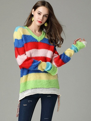 Multicolor V neck Cotton Long Sleeve Sweater_1