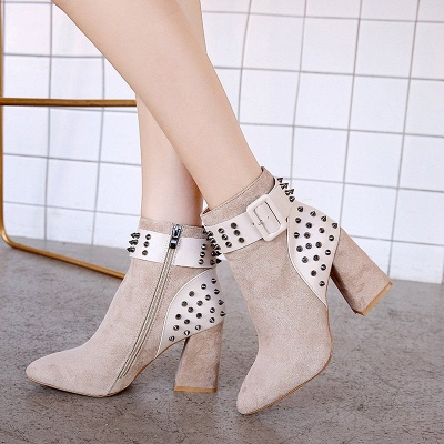 Suede Chunky Heel Daily Lace-up Rivet Boots_2