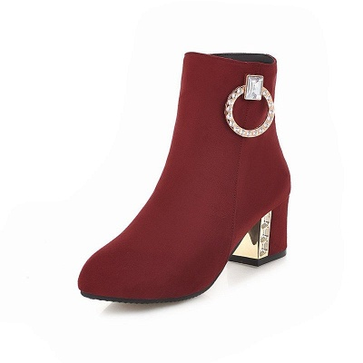 Zipper Daily Chunky Heel Pointed Toe Elegant Boots_1