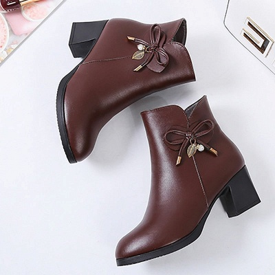 Bowknot Daily Chunky Heel Pointed Toe Zipper Elegant Boots_10