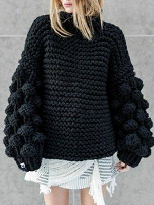 Cotton Casual Balloon Sleeve Sweater_4