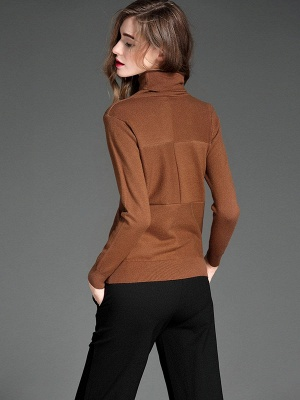 Paneled Solid Long Sleeve Casual Sweater_14