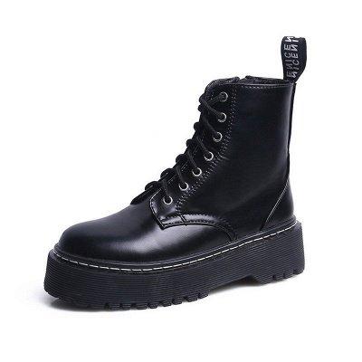 Platform Lace-up Round Toe Boots_9
