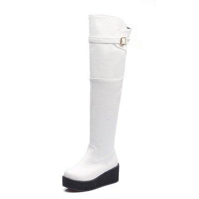 Women's Boots Wedge Heel Black Round Toe Boots_1