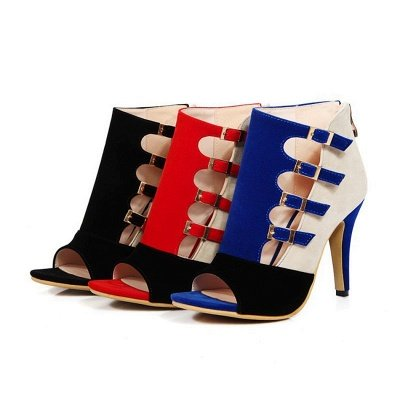 Suede Cone Heel Zipper Lace-up Peep Toe Boots_7