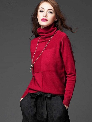 Paneled Solid Long Sleeve Casual Sweater_2