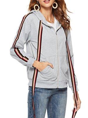 Gray Shift Hoodie Pockets Casual Zipper Paneled Coat_6