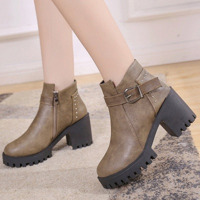 Zipper Daily Round Toe Buckle Chunky Heel Boots_1