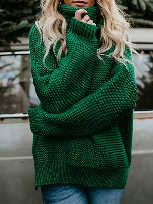 Knitted Casual Shift Long Sleeve Sweater