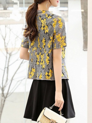 Yellow Short Sleeve Floral Guipure lace Coat_3