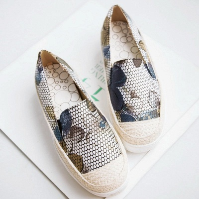 Floral Print Daily Round Toe Wedge Loafers_10