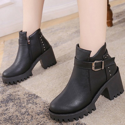 Zipper Daily Round Toe Buckle Chunky Heel Boots_2