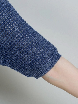 Casual Solid Crew Neck Half Sleeve Ice Yarn Knitted Sweater_9