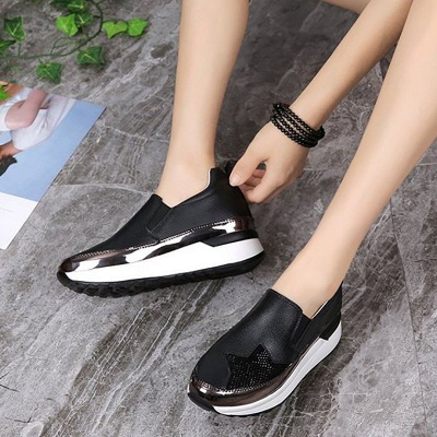 Daily Round Toe Wedge Heel PU Loafers_4