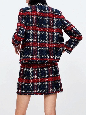 Red Crew Neck Beaded Casual Checkered/Plaid Pockets Coat_3