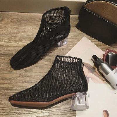 Zipper Daily Mesh Chunky Heel Boots_2
