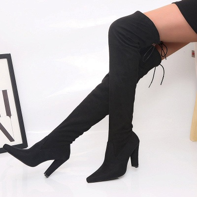 Chunky Heel Lace-up Daily Pointed Toe Elegant Boots_2