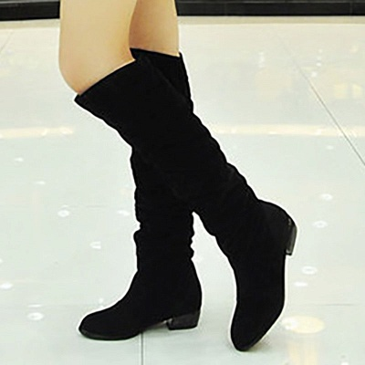 Chunky Heel Suede Fall Pointed Toe Boots_5