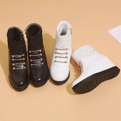 Zipper Daily Wedge Heel Round Toe Elegant Boots_7