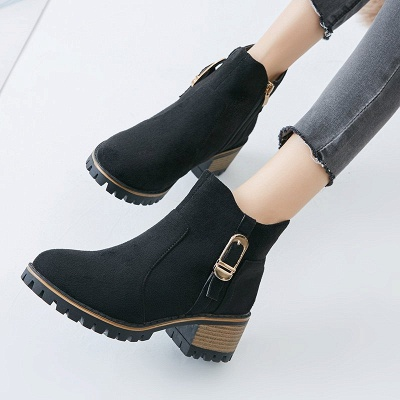Buckle Chunky Heel Daily Round Toe Zipper Boots_6