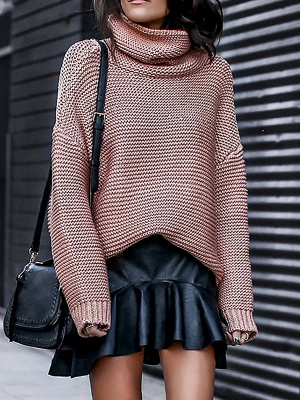 Knitted Casual Shift Long Sleeve Sweater_1