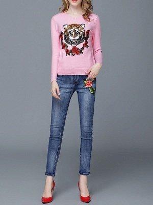 Animal Casual Long Sleeve Sweater_1