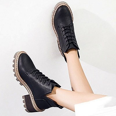 Daily Lace-up Chunky Heel Round Toe Boots_5