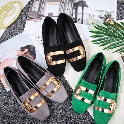 Daily Chunky Heel Suede Square Toe Loafers_5