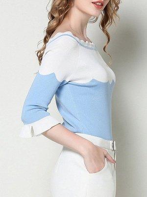 Blue Casual Sheath Frill Sleeve Sweater_6