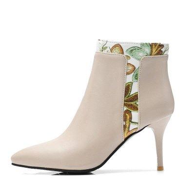 Zipper Daily Pointed Toe Elegant Stiletto Heel Boots_1