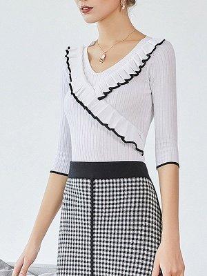 Plain Half Sleeve Casual V neck Paneled Sweater_8