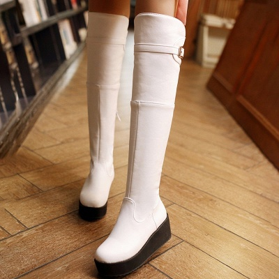 Women's Boots Wedge Heel Black Round Toe Boots_8