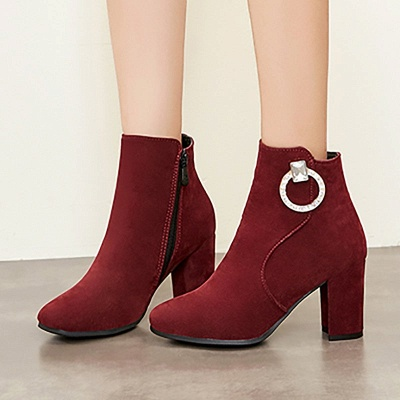 Suede Chunky Heel Working Square Toe Boots_8