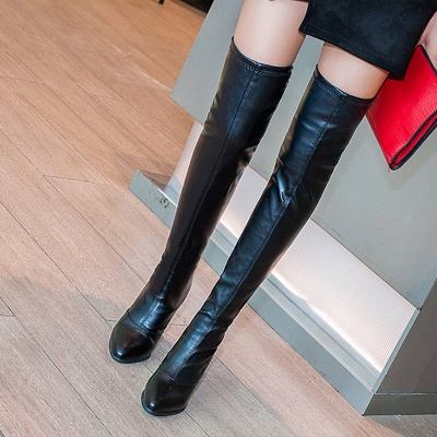 Black Winter Chunky Heel Daily Pointed Toe PU Boot_5
