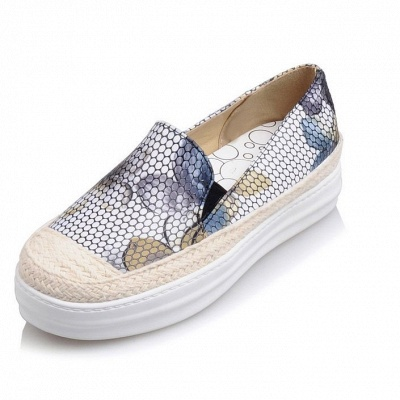 Floral Print Daily Round Toe Wedge Loafers_9