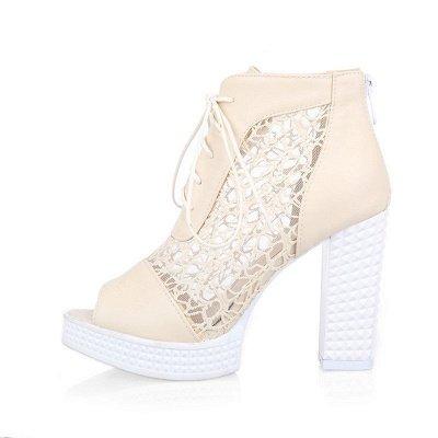 Chunky Heel Lace-up Peep Toe Elegant Boots_15