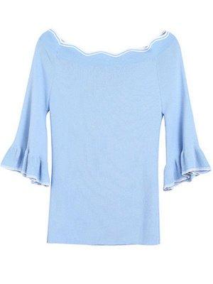 Ice Yarn Casual Bateau/boat neck Bell Sleeve Ice Yarn Knit Ruffled Sweater_2