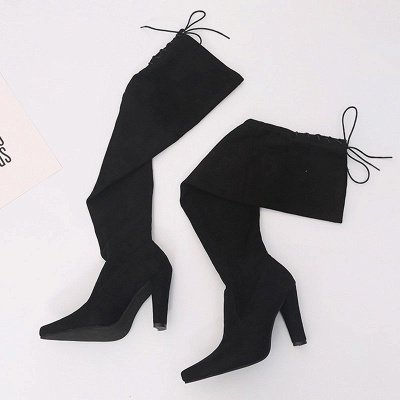 Chunky Heel Lace-up Daily Pointed Toe Elegant Boots_6