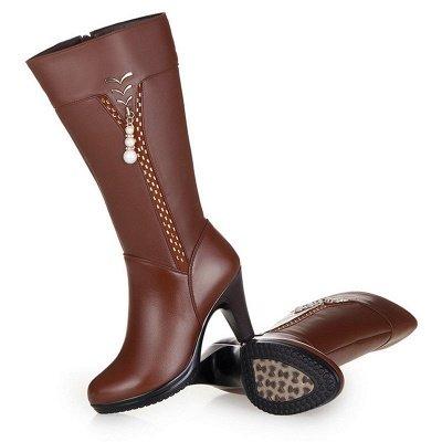 Daily Pearl Imitation Pointed Toe Chunky Heel Elegant Boots_8
