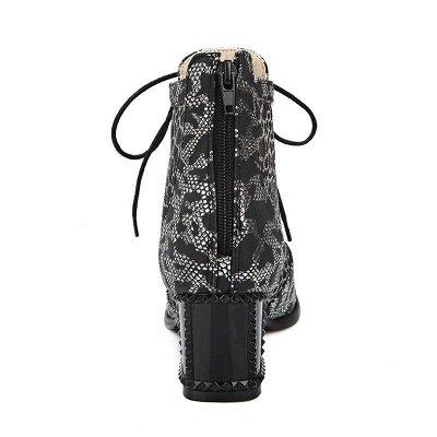 Zipper Chunky Heel Mesh Fabric Pointed Toe Boots_10