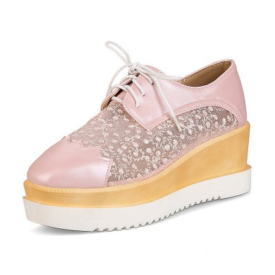 Mesh Lace-up Daily PU Pointed Toe Wedge Loafers_8