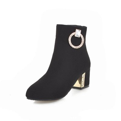 Zipper Daily Chunky Heel Pointed Toe Elegant Boots_3